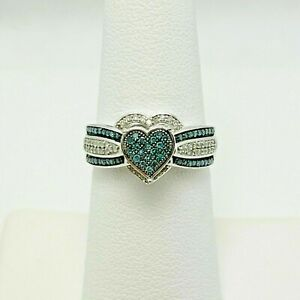 2Ct Round Cut Diamond &Topaz Women's Heart Engagement Ring 14K White Gold Finish