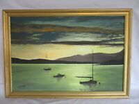 Framed Acrylic Painting, Sailing Boats, By Artist Bromley 2004, 84 x 59 Cm