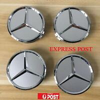 4 x Mercedes Benz WHEEL CENTRE HUB CAPS 75mm Cover Badge Emblem Silver AU