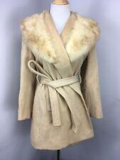 70s Vtg Tan Wool REAL Fur Pea Coat UNION MADE Jacket Sz 8 EUC Lined MOD GOGO