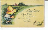 AX-273 - A Happy Easter, Artist Signed M. Dulk, 1907-1915 Divided Back Postcard