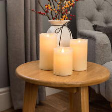 Christow 393430 Wax LED Flickering Flame Remote Control Pack of 3 Candle Lights - Cream