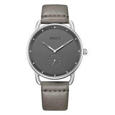Baogela Men's Watches Quartz Movement Grey Leather Watchband Simple Style Watch