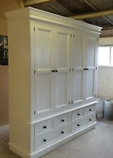 Painted 4 Door Victorian Style Wardrobe with Plinth over 6 Drawers