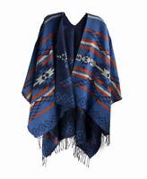 Blue Orange Aztec Cape Shawl Poncho Sweater Wrap Scarf w/ Fringe Tassels