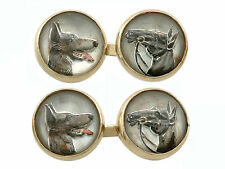 Antique Essex Crystal and 14k Yellow Gold 'Dog and Horse' Cufflinks Circa 1880