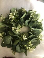 Two Artificial Flower Eucalyptus Wreath With Green Leaves Flower/outdoor