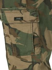 New Wrangler Men's Relaxed Fit Cargo Pants with Stretch Green Brown Camo