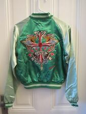 Women's Reversible Green Satin Embroidered Bomber Jacket Size Small