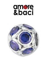 AMORE & BACI 925 silver & zirconia multi bezel PURPLE charm bead RRP £35