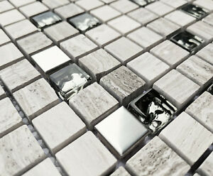 NEW GREY STONE & CHROME METAL FOIL GLASS SMALL SQUARE MOSAIC WALL TILES 8MM