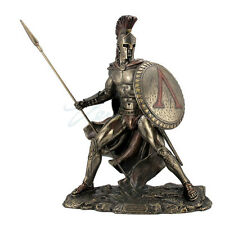 Greek Military King Leonidas Statue Holding Spear Bronze Finish 8676