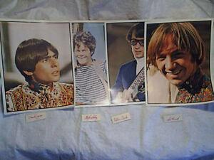 1968 4-THE MONKEES FAN CLUB GLOSSY PHOTOS,tv show,d.jones,dolenz,tork,m.nesmith