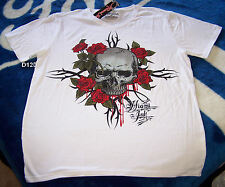 Miami Ink Skull & Roses Mens White Printed T Shirt Size XXS New