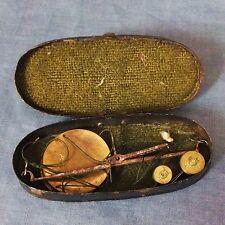 Interesting 19th. Century boxed pocket set of money scales.