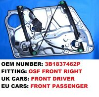 SKODA SUPERB FRONT RIGHT ELECTRIC WINDOW REGULATOR WITH PLATE