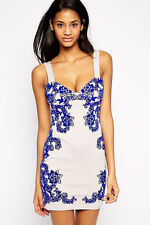 Ladies Womens Party Mini Dress Evening Bodycon Floral White Cocktail Size 12 14-