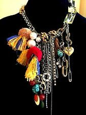 OUTRAGEOUS JUICY COUTURE TURQUOISE TASSEL BOHEMIAN CHAIN LINK STATEMENT NECKLACE
