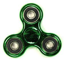 Metallic Chrome Green - Tri FIDGET Spinner Ceramic Ball Hand SPINNER Desk Toy
