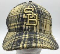 Nike SB Yellow Grey Plaid Embroidered Logo Fitted Hat SIze 7 1/4