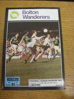 11/04/1981 Bolton Wanderers v Watford  . Footy Progs (aka bobfrankandelvis) are