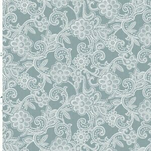 Plain Duck Egg Ground White Lace Effect Vinyl Pvc Wipeclean Tablecloth , Cafe