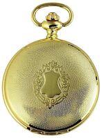 Taschenuhr Weiß Gold Wappen Metall Analog Quarz Herrenuhr D-480302000050500