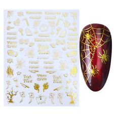 Nail Art Stickers Gold Halloween Spiders Web Ghost Trick or Treat House (STZG32)