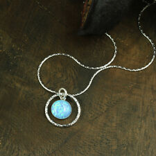Blue Fire Opal Circle Pendant 925 Sterling Silver Necklace Women's Jewelry Y748