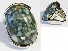 bague bijou rétro couleur argent pierre marbré vert olive/beige taille 51 ring