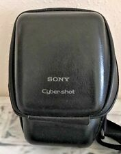 Sony Cybershot LCMSX Leather Hard Camera Case Foam Padded Black Adjustable Strap