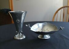 Svenskt Tenn Pewter Vase and Bird Dish As Is
