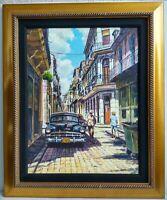 Framed Original Canvas Painting Cuba Street Old Car Signed