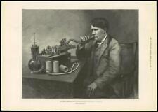 1888 - Antique Print AMERICA Edison Perfected Phonograph Telephone   (020)