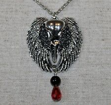 Gothic/ Halloween necklace-  bird skull on wings w/ red glass tear drop bead