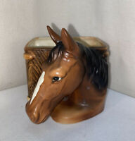 VTG Mid-Century Lego Japan Horse Head Blaze Bay Thoroughbred Planter Vase