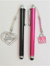 #5302- HANDCRAFTED PINK BLACK TOUCH SCREEN CAPACITIVE STYLUS, HEART PURSE CHARMS