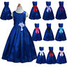 New Blue Flower Girl Party Bridesmaid Pageant Dress 2-13 Years Sash 10 Colours