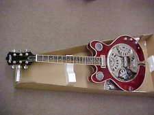 NEW 6 STRING TRANS RED RESONATOR DOUBLE CUT ELECTRIC JAZZ GUITAR