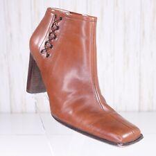 BCBGirls Max Azria Cognac Leather Ankle Boots Booties Size 7.5 Womens 7.5M euc