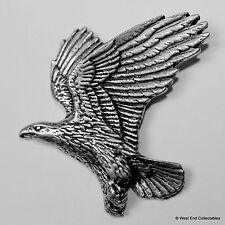 Soaring Eagle Pewter Brooch Pin - British Artisan Signed Badge - Falconry Golden