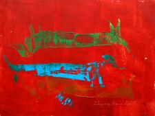 ORIGINAL ACRYLIC painting modern IMAGINERY fine ART fantasy DOG & RED EXPRESSIVE