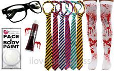 ZOMBIE SCHOOL GIRL HALLOWEEN FANCY DRESS STOCKINGS TIE GLASSES BLOOD FACE PAINT