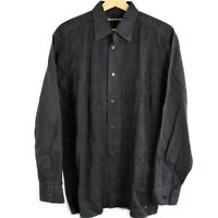 Vintage Issey Miyake Men Pleats Black Button Down Shirt Size 3 Made in Japan