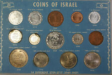 1949-1957 14 Different Coins of Israel Uncirculated Set No Outer Packaging