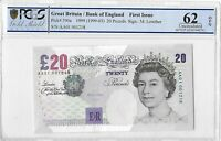 1999 Bank England Lowther First Issue £20 Twenty Pound Banknote Unc 62 OPQ AA01