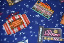 RETRO DRIVE IN MOVIE THEATER SIGNS BY TIMELESS TREASURES cotton fabric HALF YARD