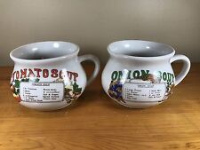 Set Of 2 Vintage Soup Mugs With Recipe Tomato Onion Retro Cup Bowl Handle Crock