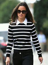 Alice + Olivia Poplin-Collar Stripe Sweater Black White Wool Knit Top Size L