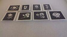 30 x flower theme mini stencils for glitter tattoos / airbrush  daisy tulip rose